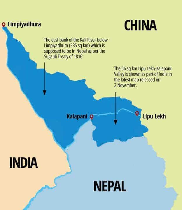 Map war between India and Nepal Over Kalapani Lipulekh and Limpiyadhura