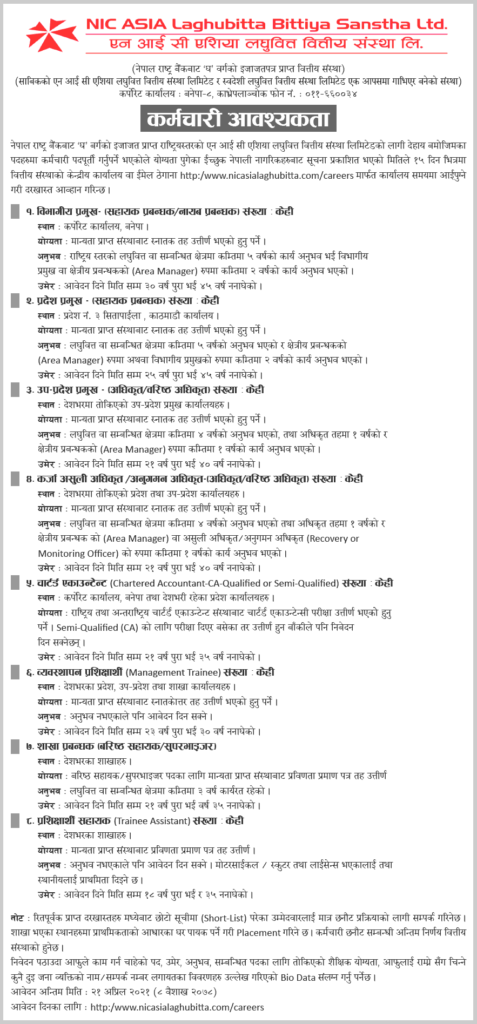 NIC-Asia-Laghubitta-and-Swadeshi-Laghubitta-Job-Vacancy-for-Various-Positions